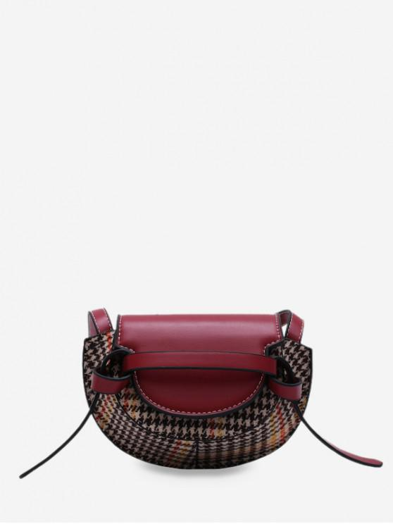 latest Houndstooth Pattern Mini Crossbody Bag - RED