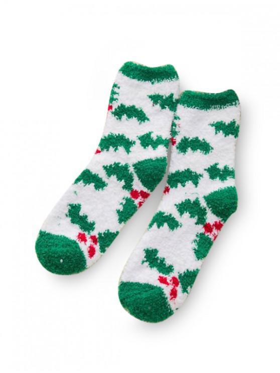 Рождественский принт елки Замша Носки - Многоцветный-Д