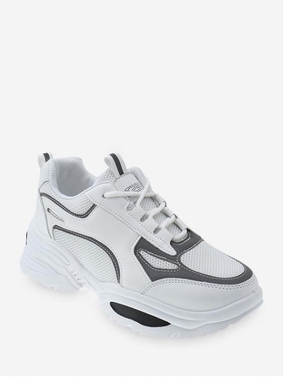 คมชัด Trim ระบายอากาศตาข่ายพ่อรองเท้าผ้าใบ - สีขาวธรรมชาติ EU 36