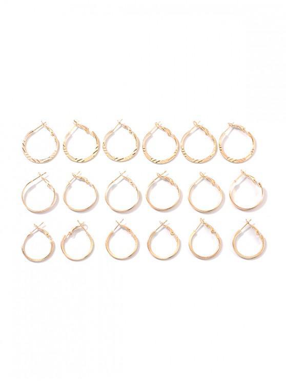 9件小圈環形耳環套裝 - 金