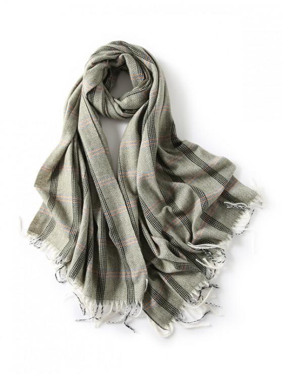 A cuadros con flecos bufanda de espiga - Jade Azul