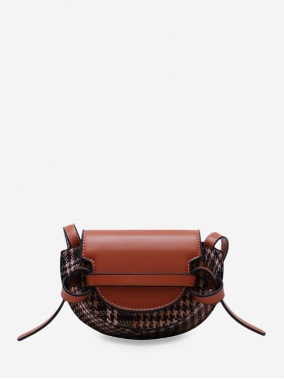 best Houndstooth Pattern Mini Crossbody Bag - BROWN