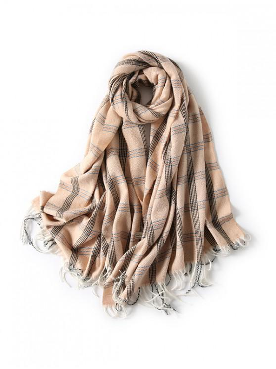 trendy Plaid Herringbone Fringed Scarf - KHAKI
