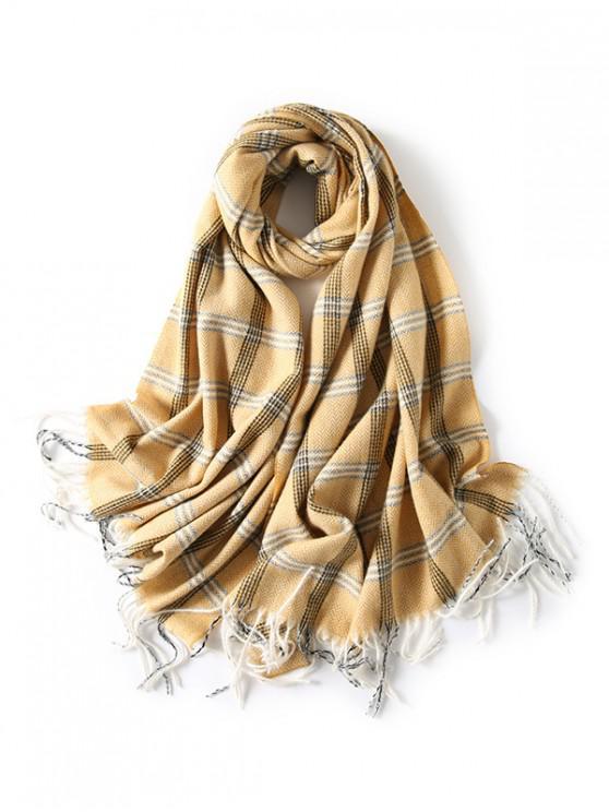 A cuadros con flecos bufanda de espiga - Amarillo