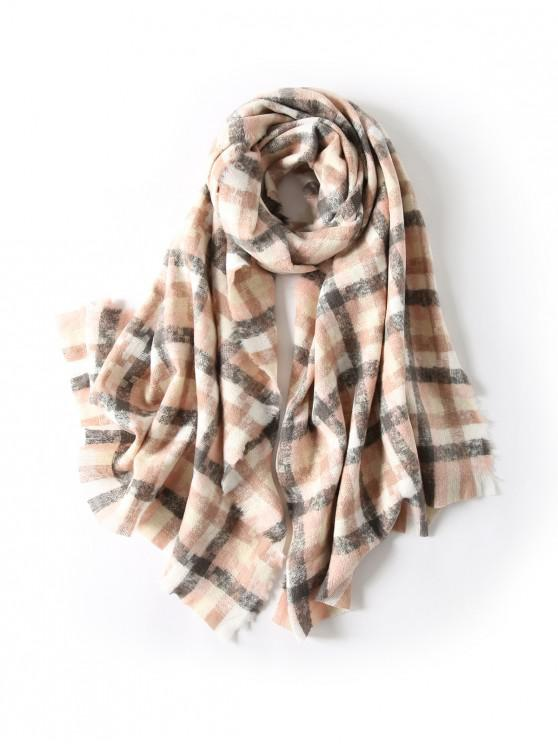 chic Winter Plaid Fringe Long Scarf - ROSE