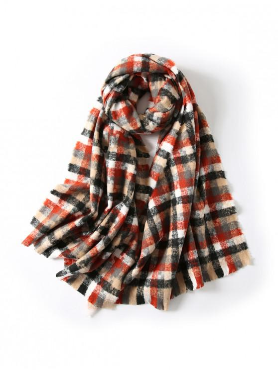 women's Winter Plaid Fringe Long Scarf - RED