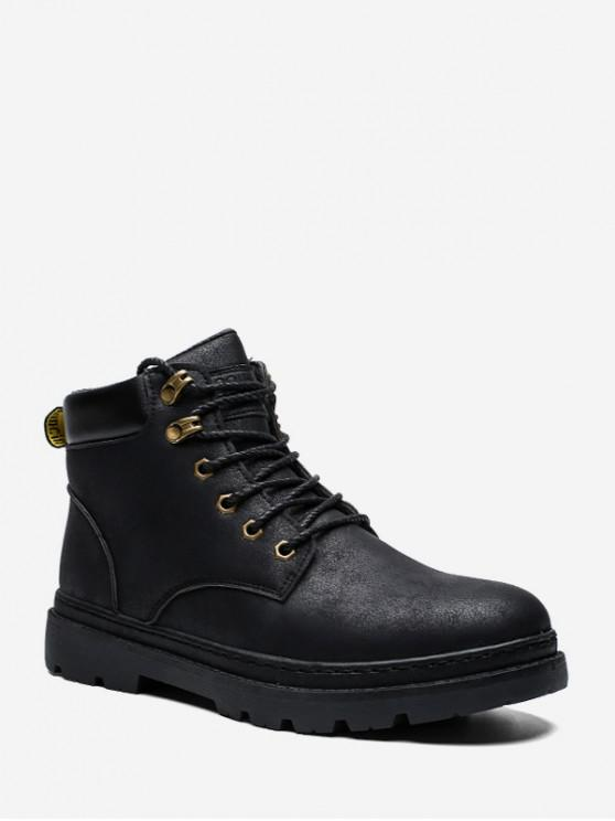 shop Vintage Artificial Leather Ankle Cargo Boots - BLACK EU 42