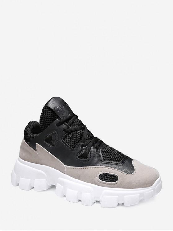 Contraste de ajuste transpirable zapatillas de papá - Negro EU 40
