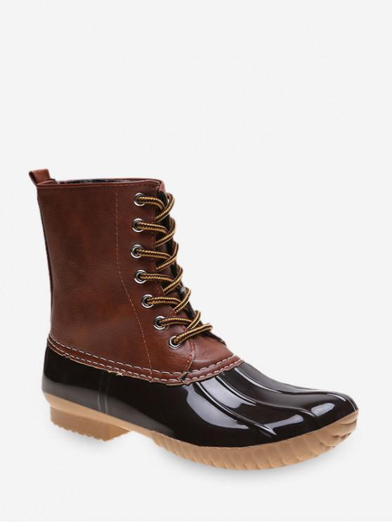 Shell del dedo del pie ata para arriba botas de lluvia - Marrón EU 39