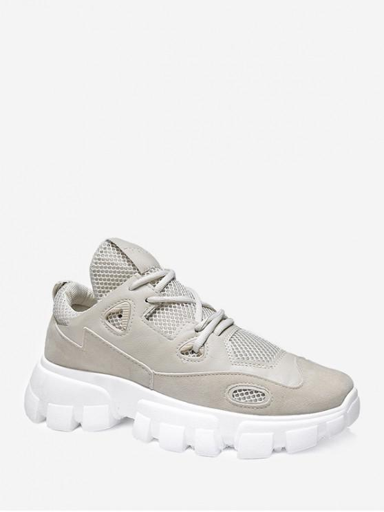 chic Contrast Trim Breathable Dad Sneakers - BEIGE EU 42