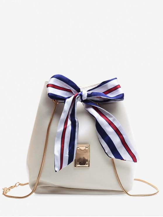 ladies Ribbon Bowknot Chain Bucket Bag - MILK WHITE