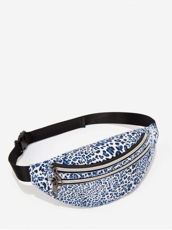 hot Leopard Pattern Crossbody Double Pockets Chest Bag - SILK BLUE