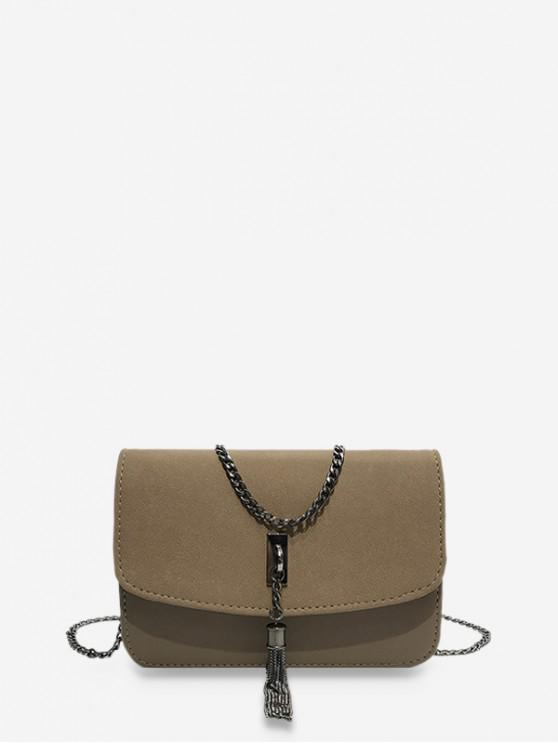 outfits Tassel Crossbody Shoulder Bag - LIGHT KHAKI