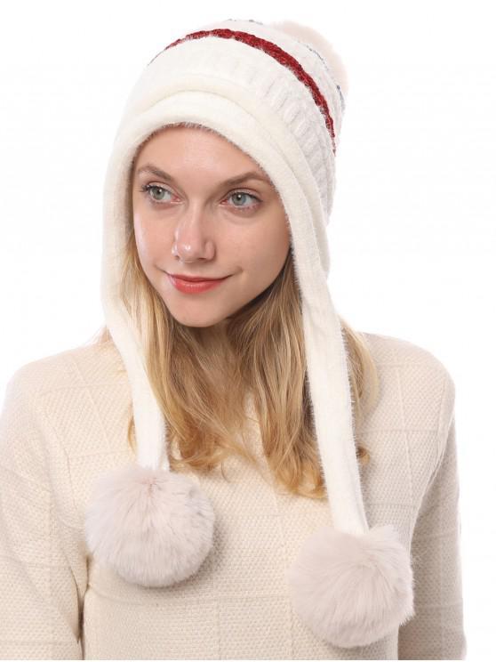 วินเทอร์บอลเลือนตกแต่งลายถักหมวก - ขาว