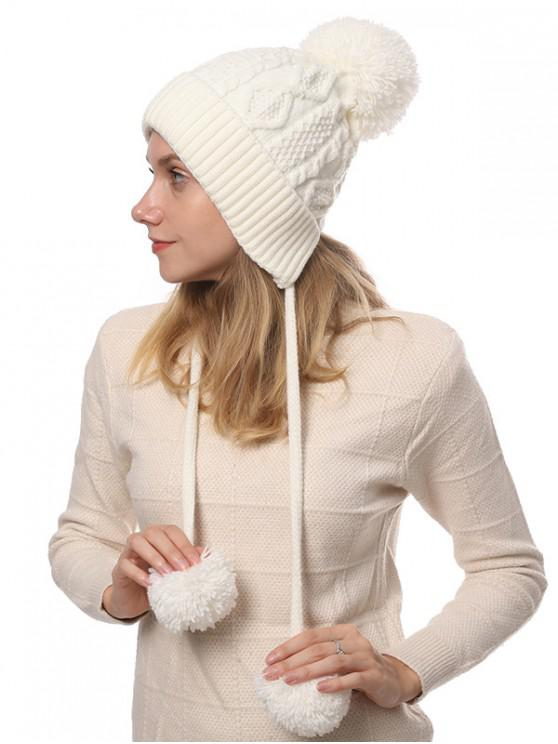 chic Winter Double Long Fuzzy Ball Knitted Hat - WHITE