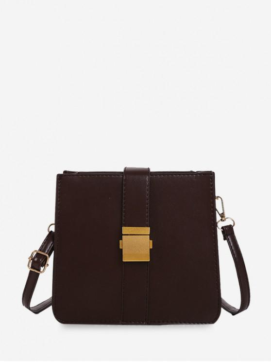 hot Square Buckle Classic Shoulder Bag - DEEP COFFEE