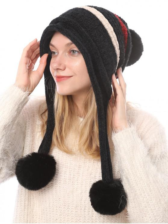 shop Winter Fuzzy Ball Decorated Knitted Striped Hat - BLACK