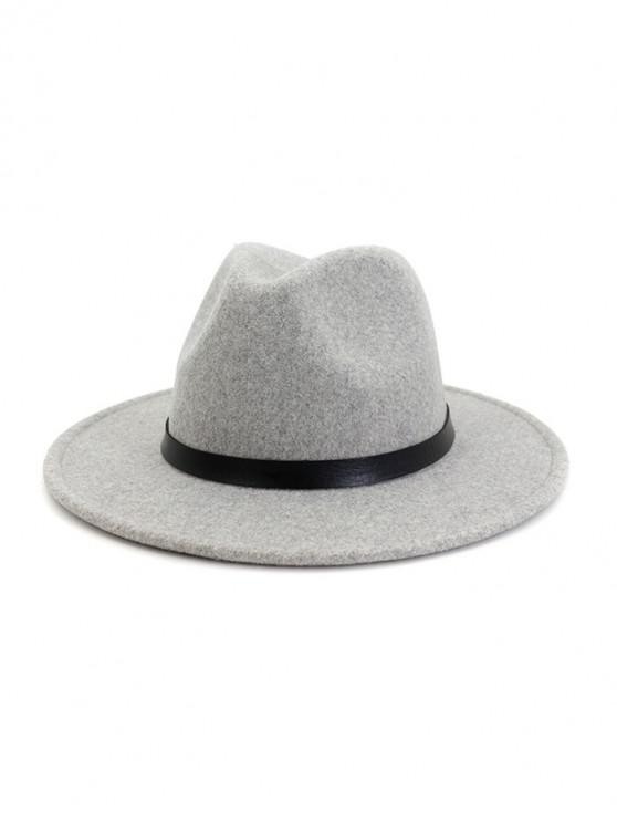 sale Ribbon Belt Solid Fedoras - LIGHT GRAY