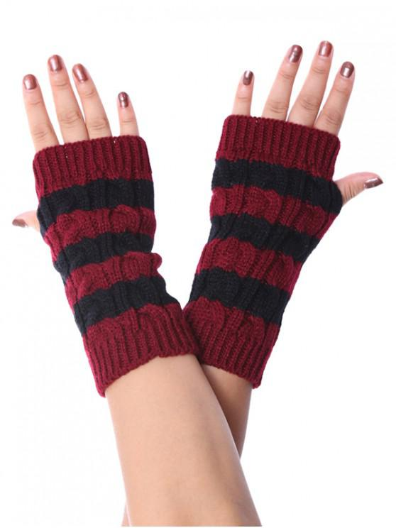 outfit Striped Fingerless Braid Knitted Gloves - RED WINE