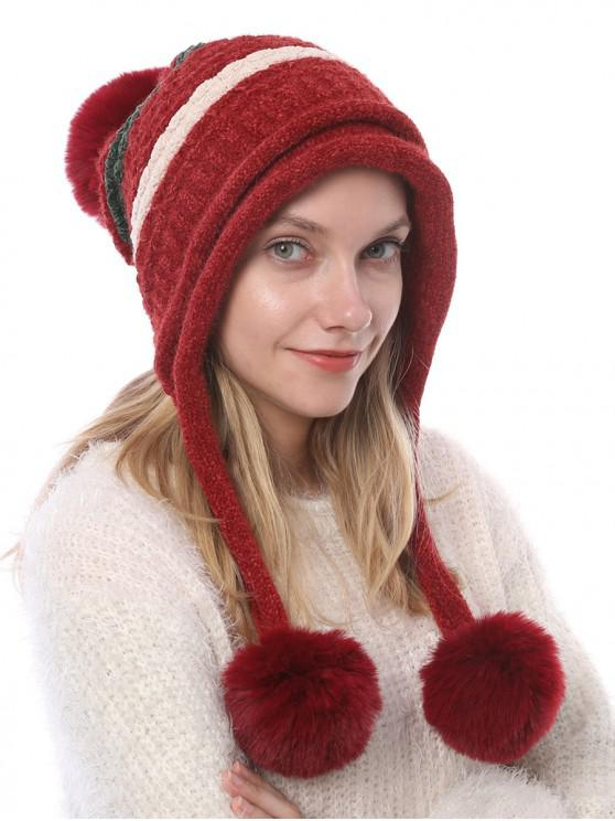 outfits Winter Fuzzy Ball Decorated Knitted Striped Hat - RED