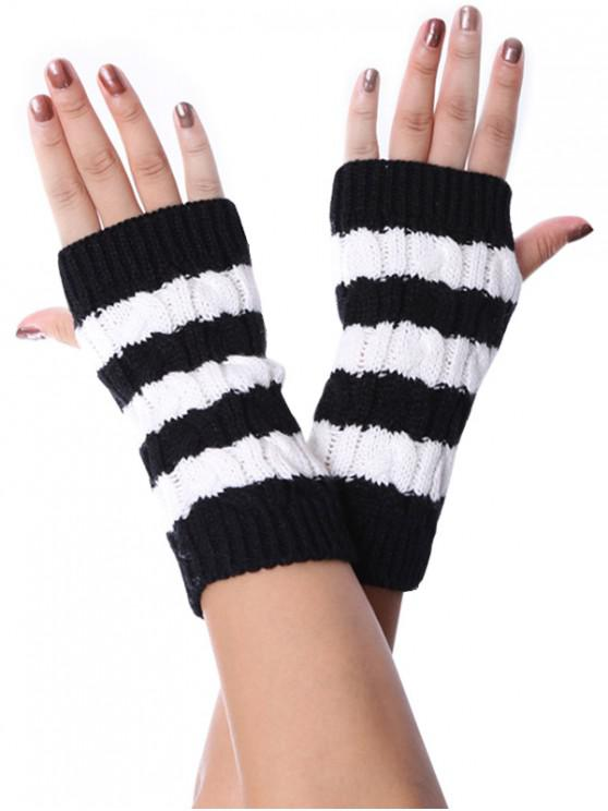 chic Striped Fingerless Braid Knitted Gloves - BLACK
