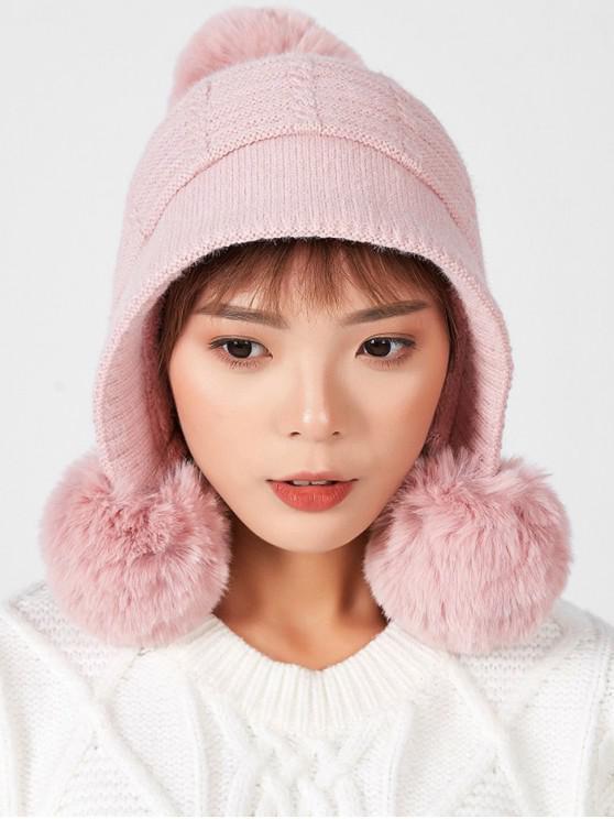 วินเทอร์บอลเลือนตกแต่งหนังหมวก - สีชมพู
