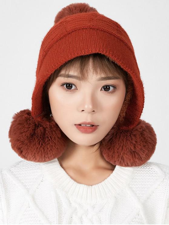 online Winter Fuzzy Ball Decorated Suede Hat - RED