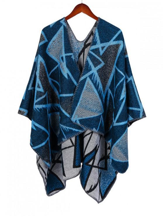 outfit Geometric Open Front Poncho Cape - LAPIS BLUE REGULAR
