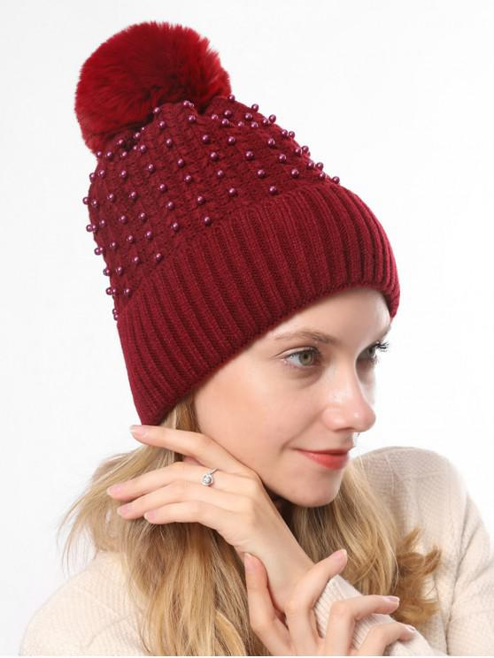 outfits Knitted Pearl Decorate Winter Hat - RED WINE