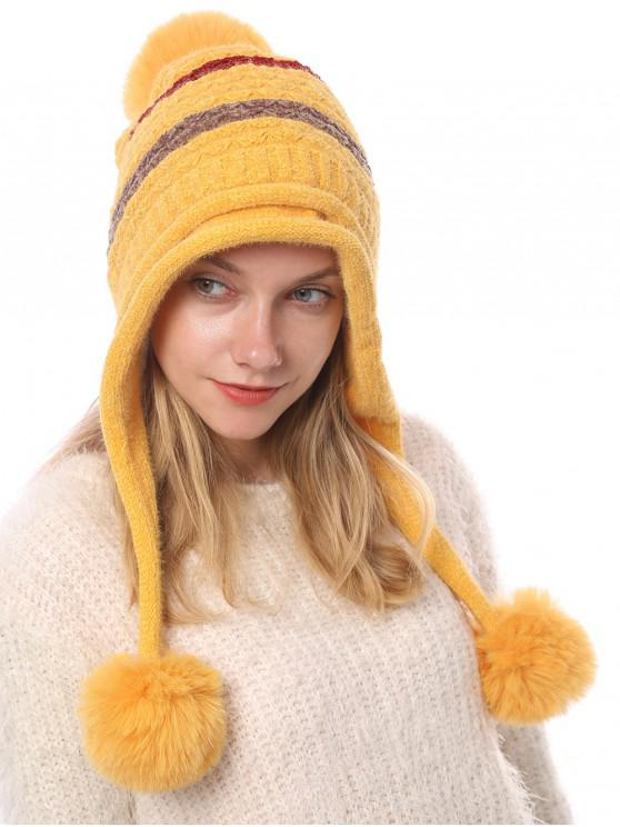 unique Winter Fuzzy Ball Decorated Knitted Striped Hat - YELLOW