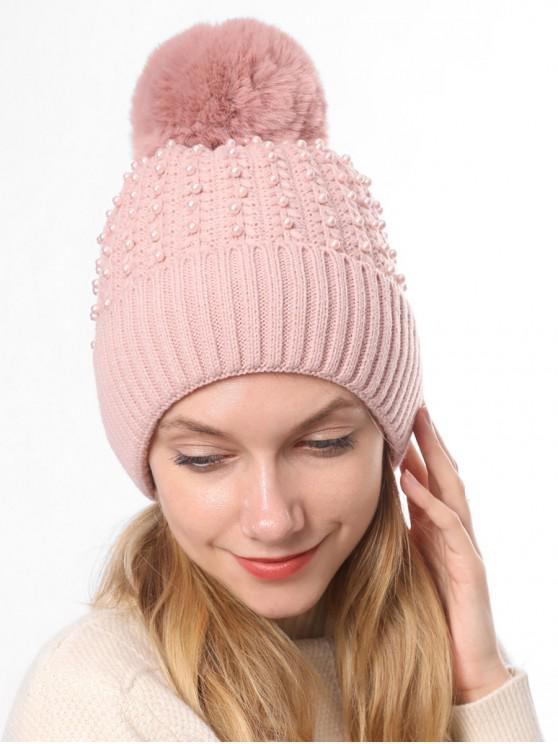 best Knitted Pearl Decorate Winter Hat - PINK