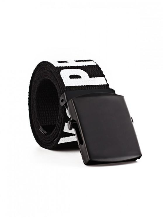 fashion Letter Knitted Wide Buckle Belt - NIGHT