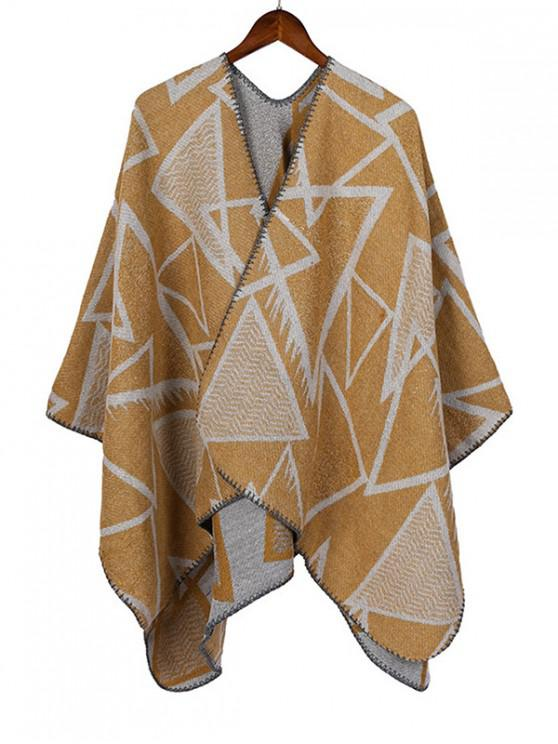 chic Geometric Open Front Poncho Cape - YELLOW REGULAR