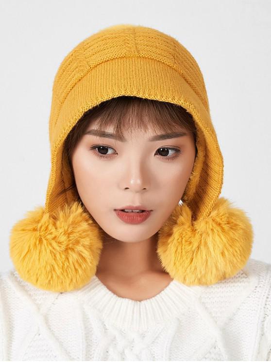 วินเทอร์บอลเลือนตกแต่งหนังหมวก - สีเหลือง