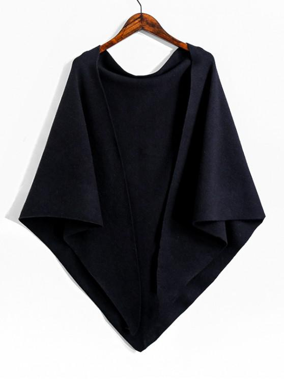 sale Faux Cashmere Knitted Triangle Shawl - BLACK