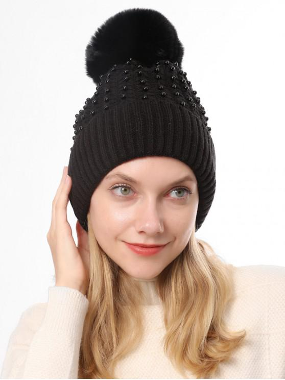 women Knitted Pearl Decorate Winter Hat - BLACK