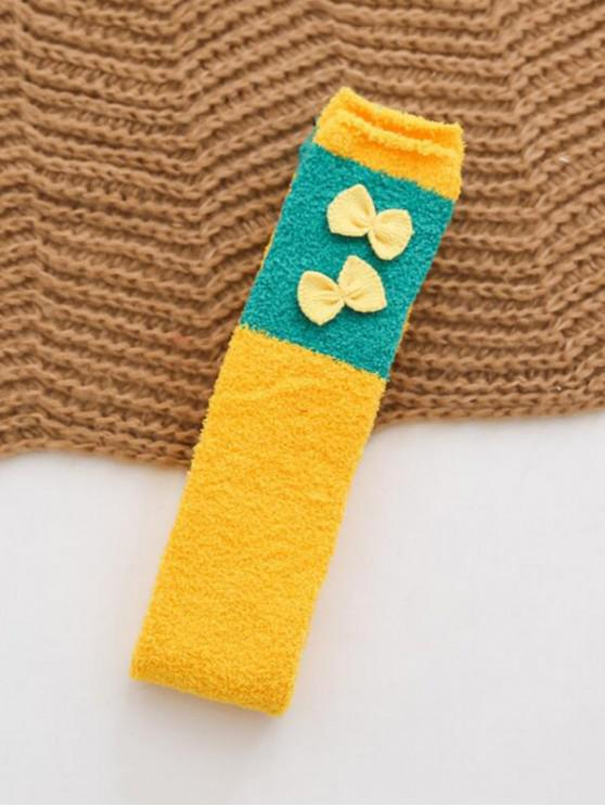lady Christmas Suede Thigh High Socks - YELLOW