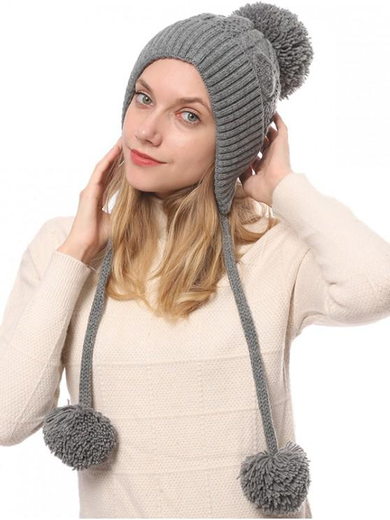 best Winter Double Long Fuzzy Ball Knitted Hat - GRAY