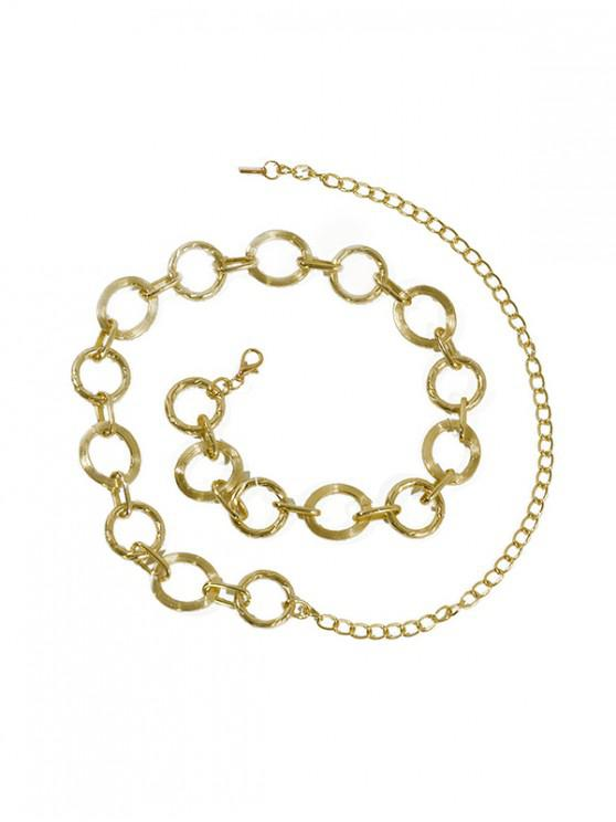 hot Hollow Rings Metal Waist Chain - FALL LEAF BROWN