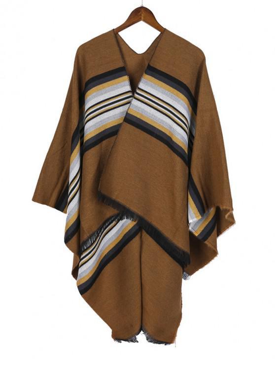 outfits Striped Pattern Fringe Split Shawl - CAMEL BROWN