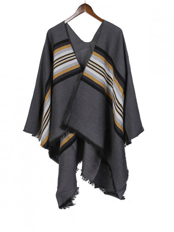 sale Striped Pattern Fringe Split Shawl - DARK GRAY