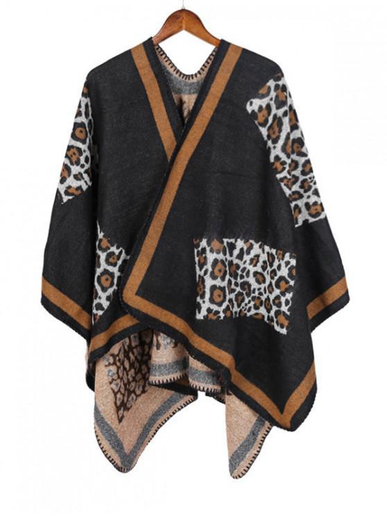 affordable Leopard Open Front Poncho Cape - BLACK REGULAR