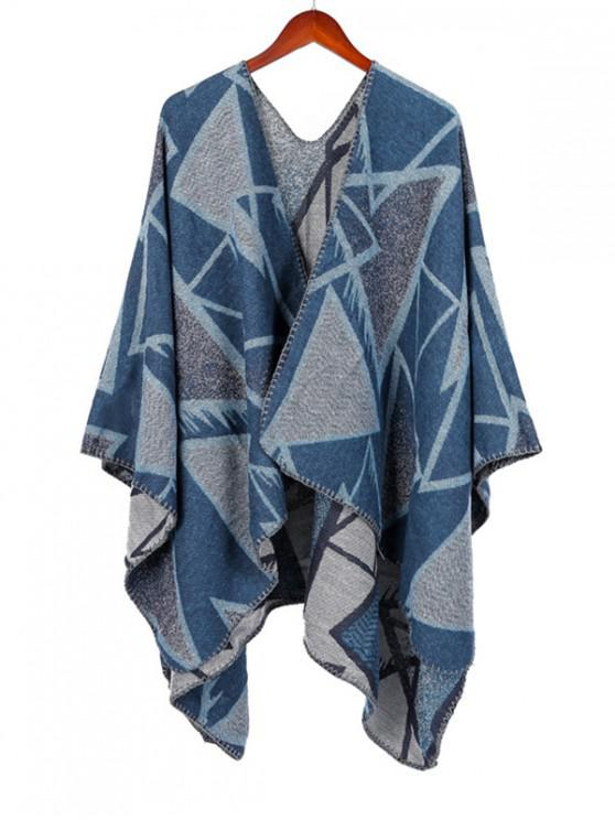 lady Geometric Open Front Poncho Cape - SKY BLUE REGULAR