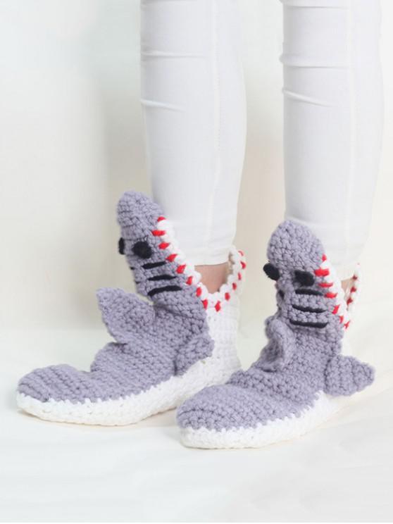 chic Shark Crochet Home Floor Socks - LIGHT SLATE GRAY