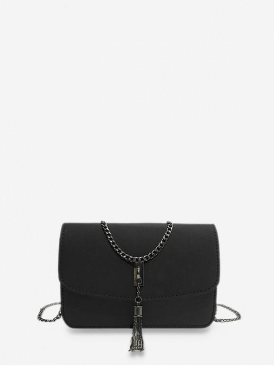 affordable Tassel Crossbody Shoulder Bag - BLACK