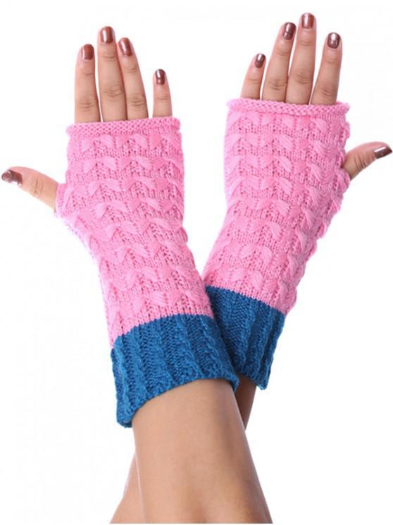 ถุงมือ Colorblock Fingerless ถักเปียถัก - สีชมพู