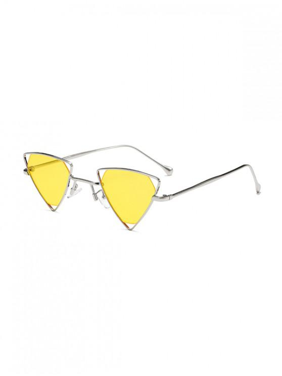 shops Metal Hollow Triangle Sunglasses - YELLOW