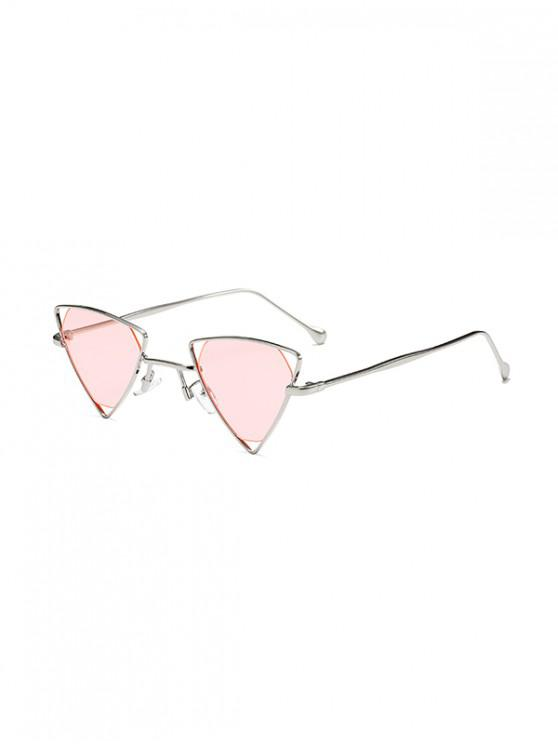 women's Metal Hollow Triangle Sunglasses - PINK