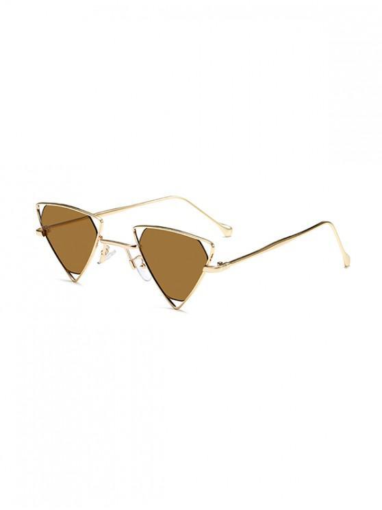 chic Metal Hollow Triangle Sunglasses - SEPIA