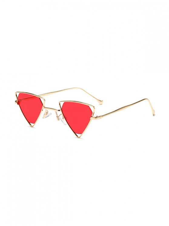 trendy Metal Hollow Triangle Sunglasses - RED